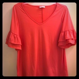 Peachy T with Ruffle Detail